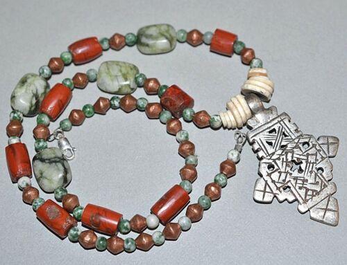Ethiopian Christian Cross Necklace Antique Jasper Stone African Trade Beads