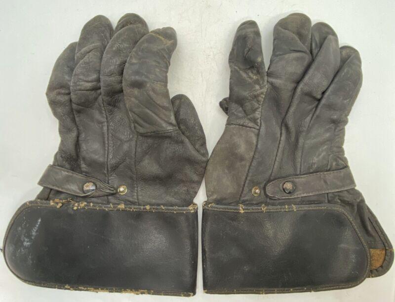 Antique Motorcycle Original Vintage 1940's Harley Davidson Black Leather Gloves