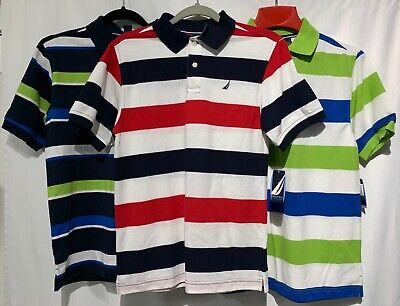 3 Boys NAUTICA Polo Style Shirts Short Sleeve Striped Collared Size XL 18/20 NEW