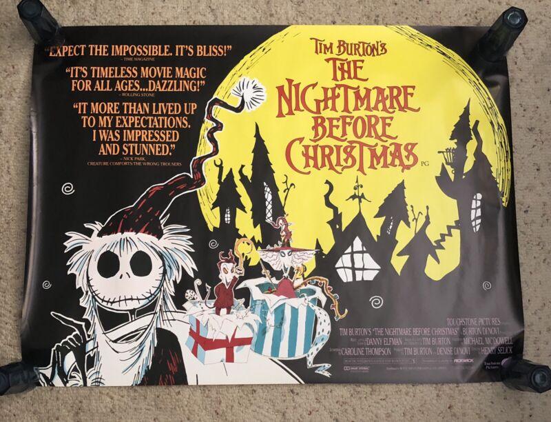 "Very Rare UK 1993 The Nightmare Before Christmas Promo Movie Poster MIP 30 X 40"""