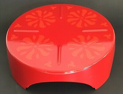 "Mid-Cen Modern Red Enamelware Trivot 3"" Tall X 9"" Wide - Excellent Condition!"