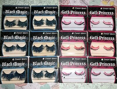 Fright Night Pink Blue Feather Eyelashes Lot Of 12-Cosplay Halloween Drag - 12 Nights Of Halloween