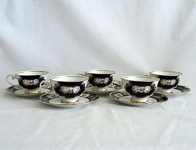 5 Reichenbach Germany Echt Kobalt Blue Gold 8159K Cups & Saucers Mint!