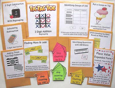 14 Teacher Made Math Center Games Grade 2 Numbers & Operations in Base Ten Pack - 2 Grade Math Games