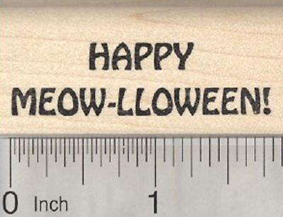 Cat Halloween Saying Rubber Stamp, Happy Meow-lloween D28803 WM (Happy Halloween Saying)
