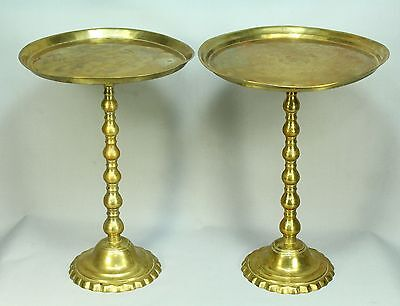 * Antique 1800's Sino-Tibetan Brass Pair Raised Tazzas Compotes Marked