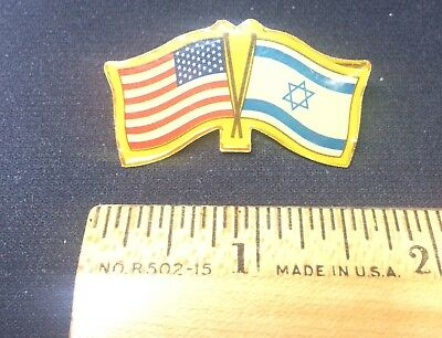 USA & ISRAEL Crossed Flags Friendship Lapel Hat Pin