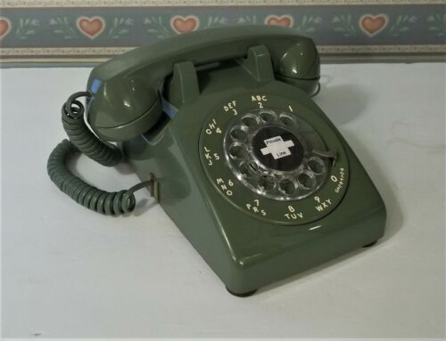 Vintage Phone Western Electric Bell System  ARMY GREEN Rotary Dial RESTORED !
