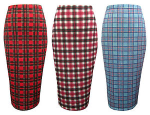NEW-WOMENS-LADIES-MIDI-PENCIL-TARTAN-CHECK-BODYCON-HIGH-WAIST-TUBE-SKIRT-Sz-8-16