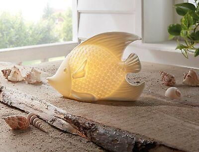 Porzellan Fisch mit LED Beleuchtung, creme weiß, Deko Leuchte maritim Tier Figur
