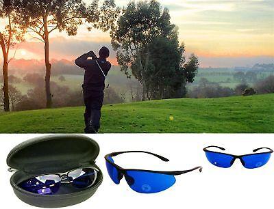 Golf Ball Finder Glasses Blue Lenses Sunglasses Matte Frame Zipper Case Gift USA - Golf Ball Sunglasses