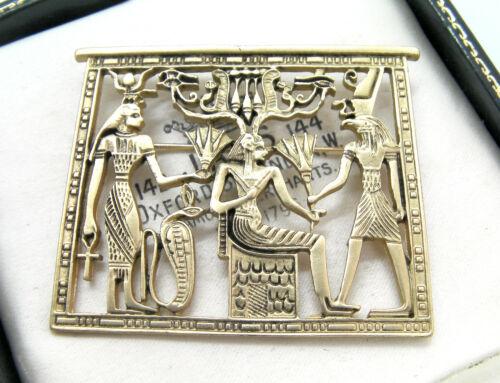 ELEGANT EGYPTIAN REVIVAL VINTAGE STYLE GOLD BROOCH