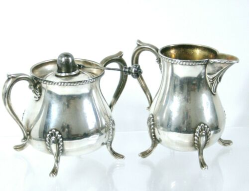 Vintage Silver Plated Sugar & Creamer With Burner Electroplated on Copper