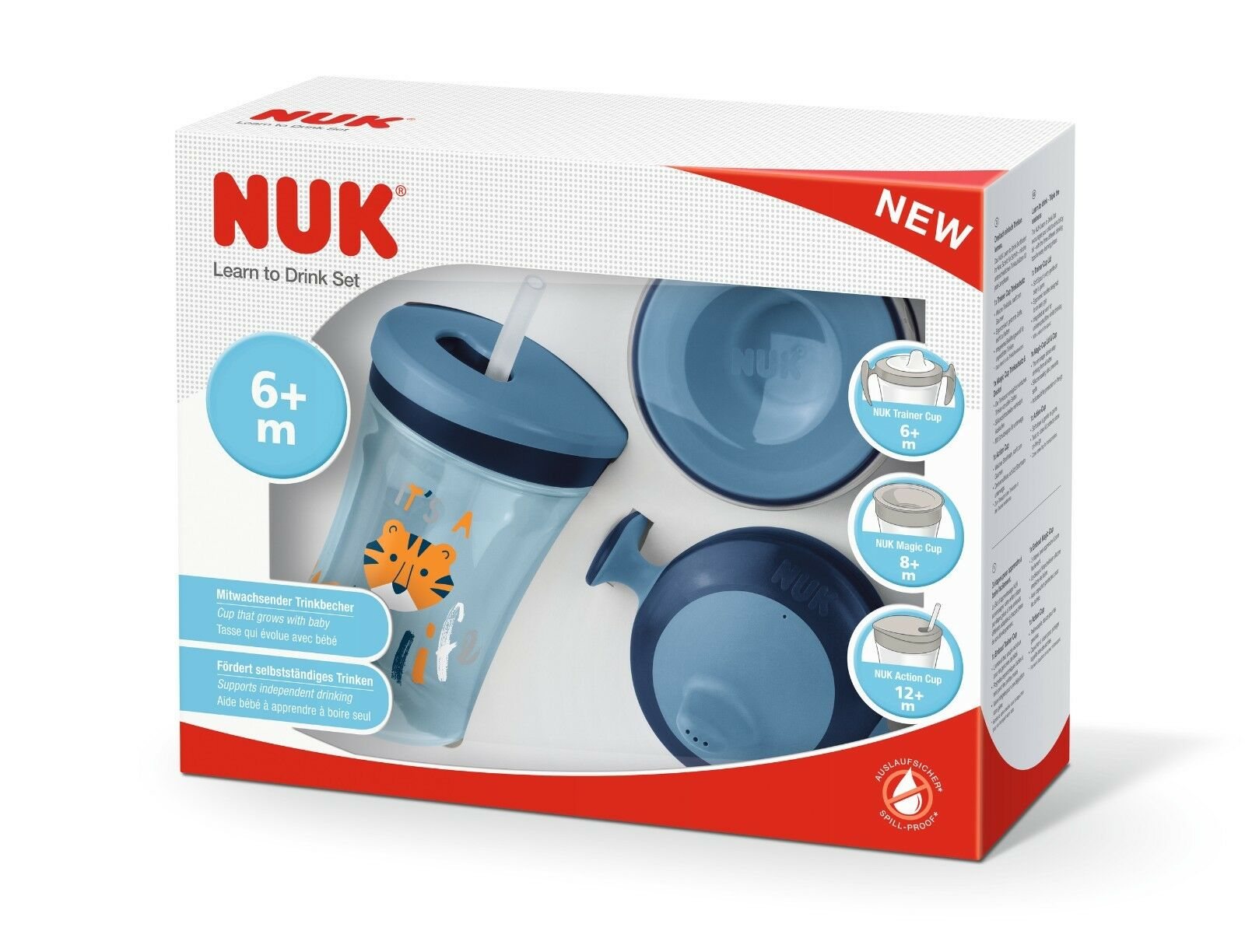 NUK 10255396 3 in 1 Set ,Trainer Cup, Magic Cup  & Action Cup Trinklernbecher