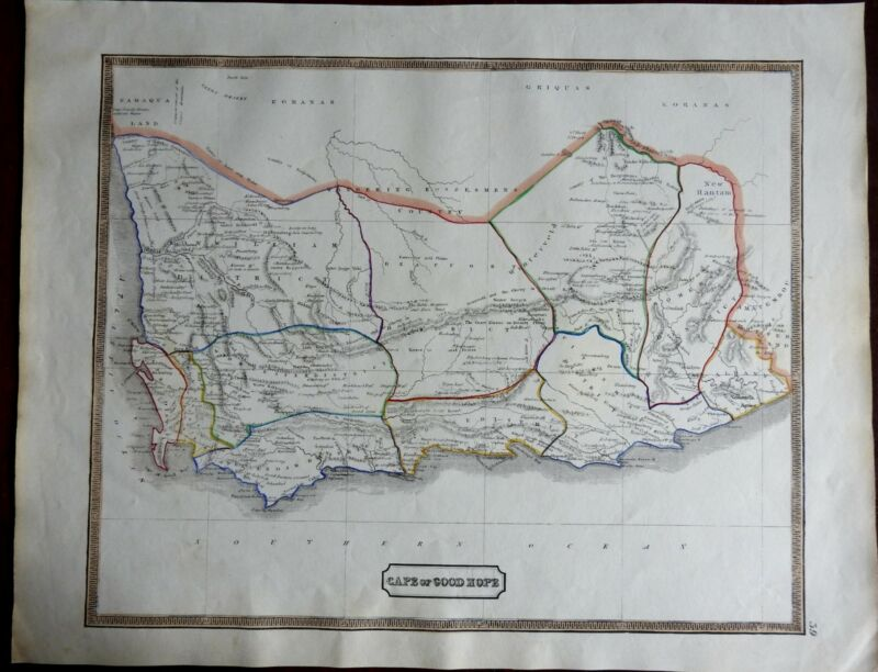 Cape Colony South Africa Cape of Good Hope British Colony 1846 scarce map