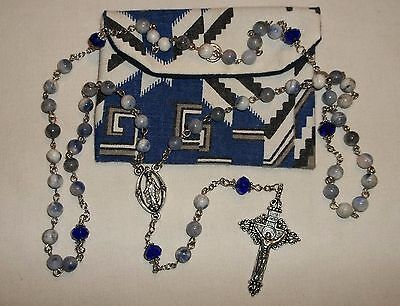 Blue Mix 6mm Glass Rosary, Cathoilc Communion Rosary, Blue Rosary Pouch - $13.25