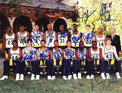 1991-92 FAB FIVE MICHIGAN WOLVERINES BASKETBALL TEAM RP SIGNED 8X10 PHOTO