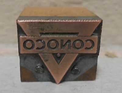 Vintage Conoco Gas Oil Logo Metal Wood Letterpress Printing Block Type