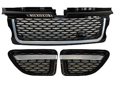 Black+Silver Front grille+side vents Autobiography for Range Rover Sport 05-09