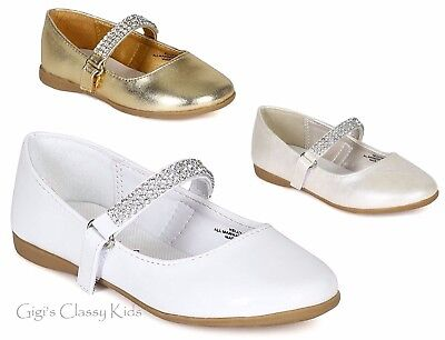 New Girls Gold White Shiny Ivory Dress Shoes Flats Rhinestones Wedding Kids - Girls Ivory Flats