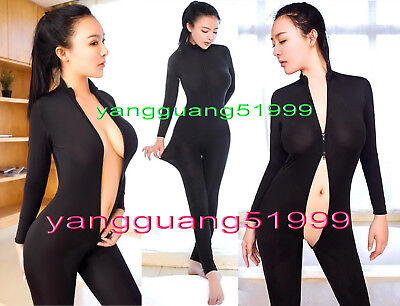Black Lycra Spandex Catsuit Costumes Unisex Sexy Body Suit With Long Zipper - Body Suit Costumes