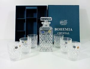 Vintage-Czechoslovakia-Bohemia-Crystal-Whiskey-Set-of-Six-Glasses-Decanter