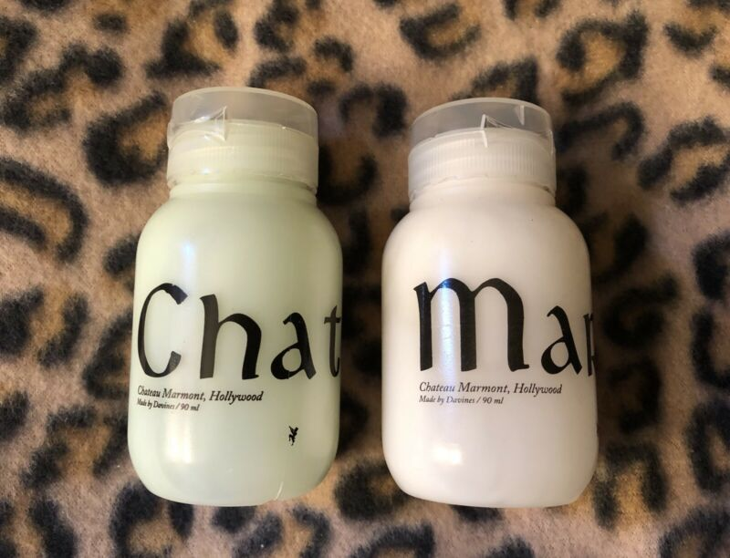 set of 2 CHATEAU MARMONT hotel CALIFORNIA Davines amenities BOTTLES - HOLLYWOOD
