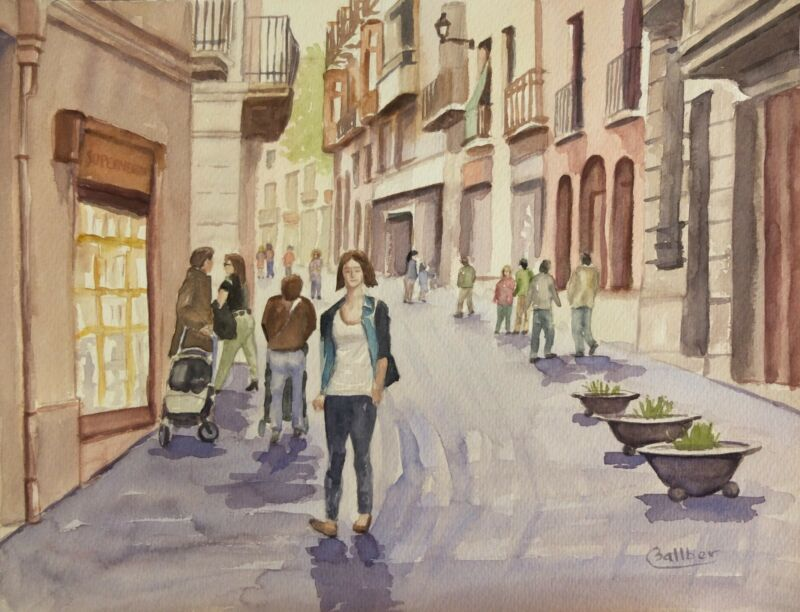 Original Watercolour of a street in Sarrià (Barcelona) ,Spain 41 x 31 cm