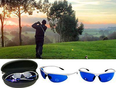 Golf Ball Finder Glasses Blue Lenses Sunglasses Silvr Frame Zipper Case Gift (Golf Lenses)