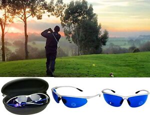 d6cfb35cdd9 Golf Ball Finder Glasses Blue Lenses Sunglasses Silvr Frame Zipper Case  Gift USA