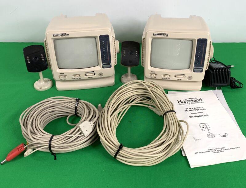 "lot, 2 Homeland Security Audio Video Cameras & 2  5.5"" B&W Monitors & Cables"