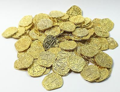 Pirate Treasure Coins   100 Metal Gold Colored Doubloon Props