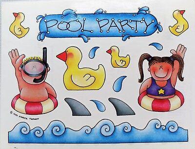 Pool Party Boy Girl Ducky Shark Fins Inner Tubes Snorkel Provo Craft Stickers](Shark Craft)