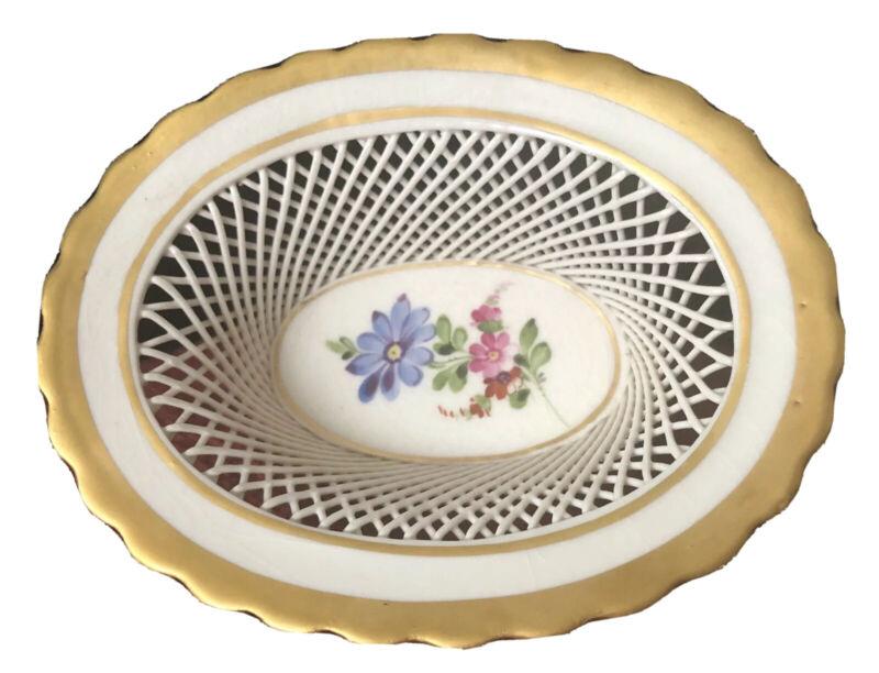 Antique VON SCHIERHOLZ Porcelain Reticulated Floral Basket w/Gold Trim ~ Germany