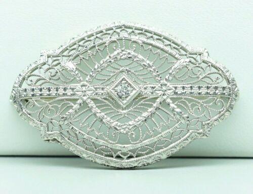 "Antique 14K White Gold Platinum Top Diamond Brooch 3.63 Grams 1 3/8"" Long"