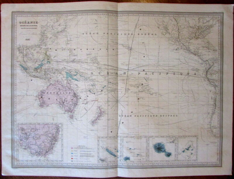 Oceania Australia New Zealand c.1860 large Dufour antique engraved color map