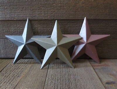 "Set of 3 Country Primitive 6"" Black Green Burgundy Barn Stars Wall Decor Metal"