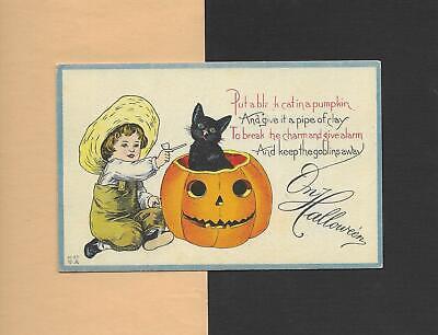 Cute BOY, Adorable BLACK CAT, JOL On Colorful Vintage HALLOWEEN Postcard