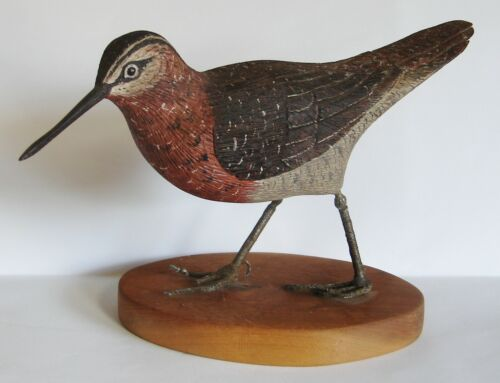 Vintage 1977 Hand-carved Shore Bird Signed Joseph R Novalis, Bordentown, NJ