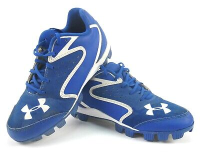 Under Armour Youth Baseball Cleats Size 6Y - Royal Blue White Trim - Pre-Owned
