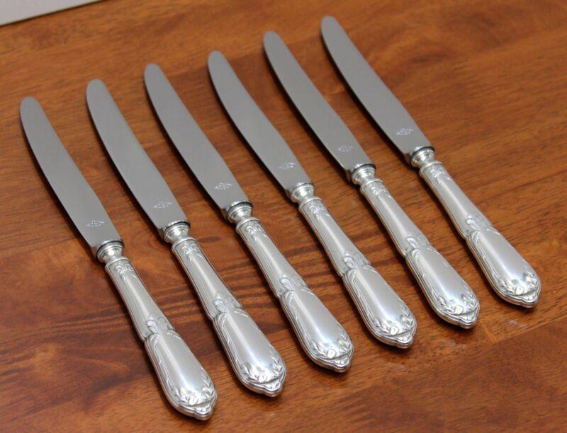 SET of 6 Chambly RUBANS crosses EMPIRE Silver Dessert Salad Knives 8 1/2 TX SFAM