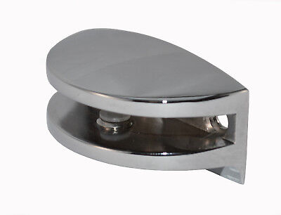 Confezione di 8 Curvo Cromato Mensola Staffe Morsetti per Vetro Ripiani per 6mm
