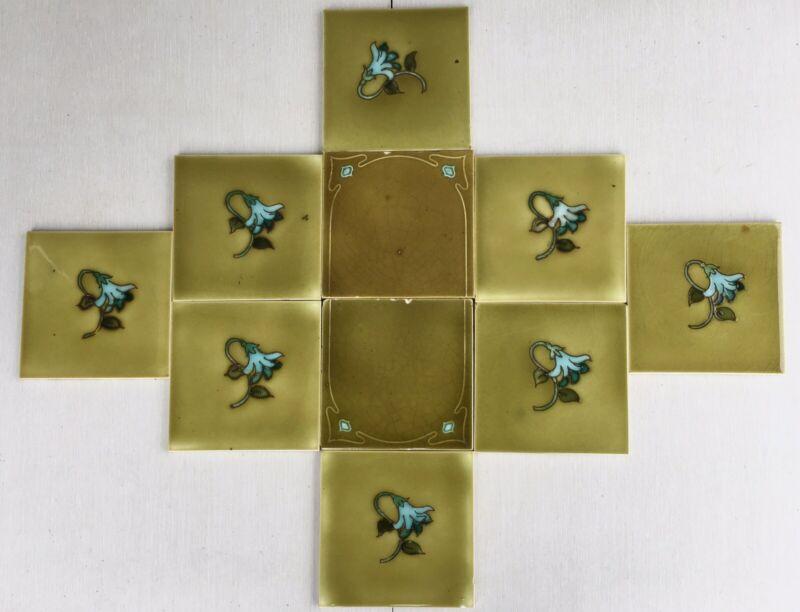 """Set 10 Antique Majolica Panel Backspl Art Nouveau 6"""" tiles olive green flower"""