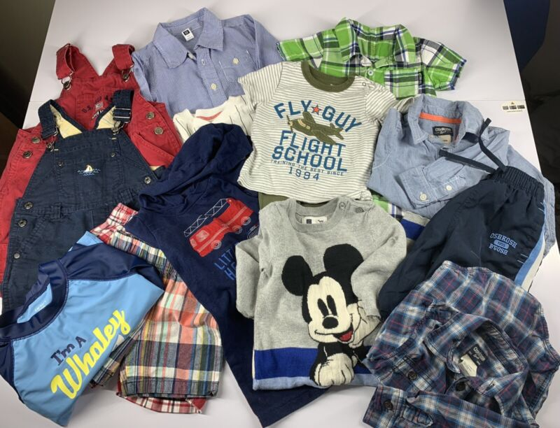 Lot Of 14 Baby Boy Clothes Sz 12-24 Months Mixed Oshkosh B'goshbaby Gab Carters