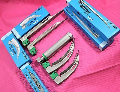 Fiberoptic Laryngoscope Mac Miller Emt Anesthesia Combo Set 4 Blades Handle