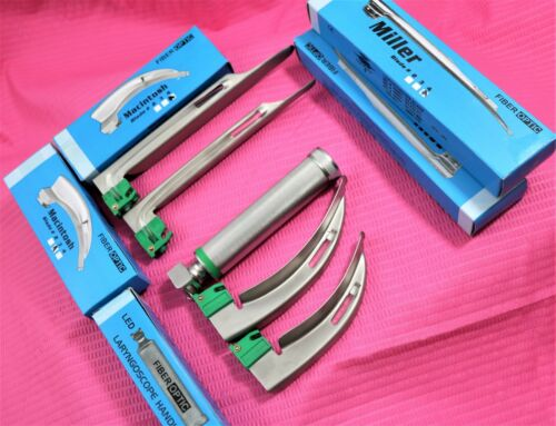 Fiberoptic Laryngoscope Mac + Miller EMT Anesthesia Combo SET 4 BLADES  HANDLE