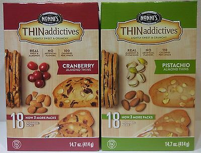 (Nonni's Thin Addictives ~ Cranberry Almond or Pistachio Almond Thins 18 pk/Box )