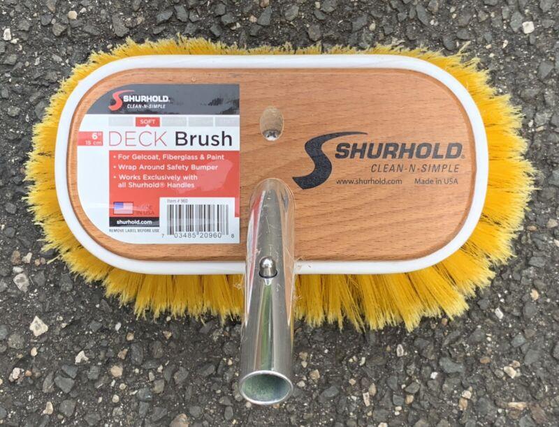 "SHURHOLD 960-6"" DECK BRUSH W/SOFT YELLOW POLYSTYRENE BRISTLES-BOATS-LIGHTLY USED"
