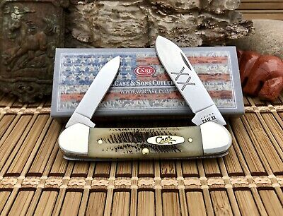 Case XX USA Beautiful 2020 VINTAGE BONE 25962 Gold Shield Canoe Pocket Knife