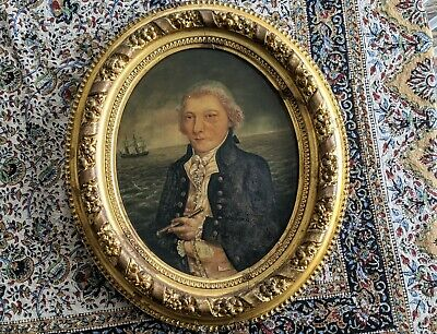 Antique Oval Framed Oil Painting Nautical Ship Captain Portrait on Paper